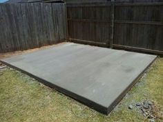 Concrete slab for our shed Concrete Cloth, Deck Over Concrete, Concrete Pad, Deck Steps, Wood Steps, Shed World, Freestanding Deck, Building A Floating Deck, Screened Gazebo