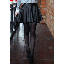 Sophisticated Style High-Waist Solid Color PU Leather Women's Skirt, BLACK, ONE SIZE in Skirts | DressLily.com
