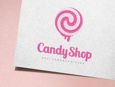 Vector logo design for sweets, candy shop. A fully editable and resizable vector logo Formats: AI - Adobe Illustrator (CC / CS). Vector Logo Design, Best Logo Design, Graphic Design, Sweet Logo, Candy Logo, Logo Templates, Design Templates, Candy Shop, Shop Logo