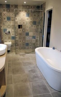 Love the tile around the shower. Decor ideas include flooring ideas and color scheme and layout