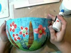 Decorating a Paper Mache Bowl with Gelli Printed Papers by Karen Ellis - YouTube