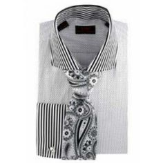 DS-1196 White Men's Dress Shirt by Steven Land