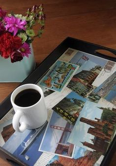 A postcard tray can help you savor vacation memories - along with morning coffee or afternoon tea.