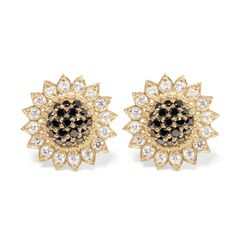 Yellow Gold Small Sunflower Stud with Black and White Diamonds, $3700