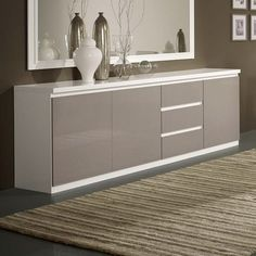 Regal Sideboard In White And Grey With High Gloss Lacquer White Gloss Bedroom Furniture, Dining Room Furniture Design, Neutral Bedroom Decor, Furniture Decor, Living Room Tv Unit Designs, Bedroom Cupboard Designs, Home Room Design, Interior Design Living Room, Dinning Room Cabinet
