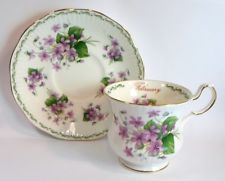 Vintage QUEENS VICTORIAN VIOLETS FEBRUARY BIRTH MONTH TEA CUP SAUCER Bone China