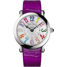 Franck Muller Ladies Color Dreams Ronde Watch with Alligator Strap ($8,405) ❤ liked on Polyvore featuring jewelry, watches, bracelets, stainless steel jewellery, buckle jewelry, crown jewelry, buckle watches and black stainless steel watches