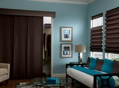 Bali Sliding Panels for the guest bedroom- Collection: Damask, Color: Cocoa #T3261, fabric wrapped cornice