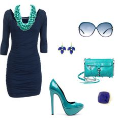 Love the teal with the navy blue dress!!