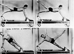 Joseph Pilates demonstrates - Control push-up and The Star on the reformer