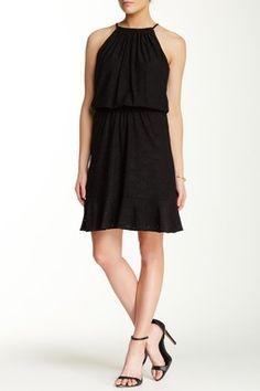 London Times Blouson Hi-Lo Hem Dress (Petite)
