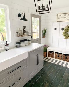 Storage perfection is in this laundry room courtesy of our friend @dreamingofhomemaking. The shelving and beautiful cabinetry is stunning in her organized farmhouse laundry room! Her space has us in love with the little details and colors.   #decorsteals #decorstealsaddict #farmhouselaundry #storagebaskets #mudroom #washday #openshelving #dailydeal