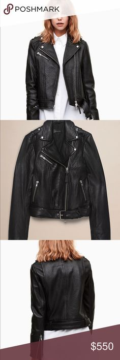 Black Pebbled Leather Motorcycle Jacket NWOT This Mackage style is exclusive to Aritzia.   Inspired by traditional motorcycle styling, this pebbled leather jacket has been treated to Mackage's signature garment wash to give it the look of a vintage find. Features Two-way zipper Fully lined Zippered front pockets Size & Fit Fit: Classic — follows your contours with a little room Model is 5'10/178 cm wearing a size S Materials & Care Content: 100% lambskin leather; Lining: 100% polyester…