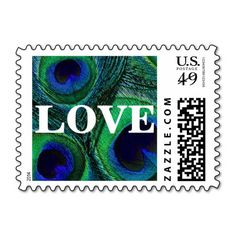 #Peacock #feather #LOVE #postage #stamps in #green, #teal, #cobalt, medium #blue, #navy, and #purple. Spice up your #wedding, shower, engagement party, vow renewal, and anniversary invitations, announcements, save the dates, thank you notes, every day correspondence, and cards. Available horizontal or vertical, in different $ denominations, colors, and other matching products. Can be customized / personalized, too.