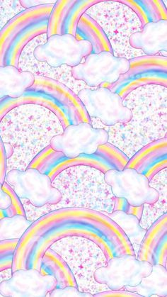 By Artist Unknown. Rainbow Wallpaper, Cute Wallpaper For Phone, Cute Disney Wallpaper, Kawaii Wallpaper, Pastel Wallpaper, Wallpaper Backgrounds, Iphone Wallpaper, Whatsapp Wallpaper, Unicorns And Mermaids