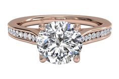 Channel-Set Diamond Engagement Ring with Surprise Diamonds - in Rose Gold (0.14 CTW)