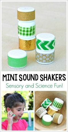 Science and Sensory Play for Kids: Mini Sound Shakers! These easy to make sound shakers are perfect for exploring sound, playing gross motor games and more! ~ BuggyandBuddy.com
