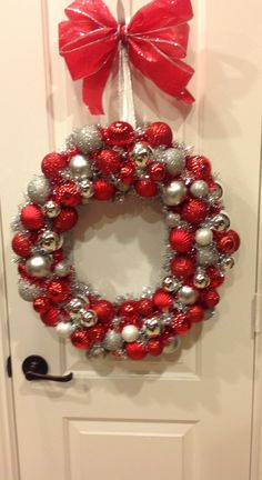 Christmas ball wreath wreaths pinterest wreaths and craft christmas balls hot glued on grapevine wreath use garland as filler solutioingenieria Images
