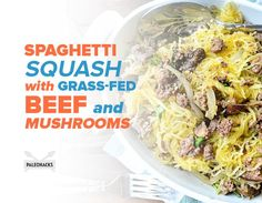 "This recipe combines gluten-free, paleo-friendly spaghetti squash ""pasta"" with grass-fed ground beef with fresh and dried Italian herbs. Serve it for dinner!"