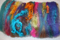 Stained Glass Spinning Fiber Art Textured Batt by reneeknits