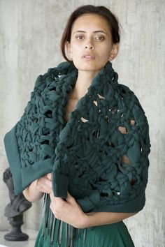 Contemporary Handwoven Wool Cloak or Art Piece by Kiri Nathan Green Tips, White Feathers, Weaving Techniques, Cloak, Hand Weaving, Contemporary, Modern, Art Pieces, Ruffle Blouse