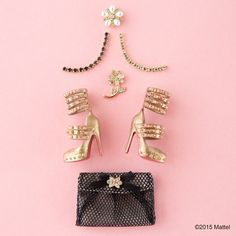 It's #shoesday! How glam are these gold heels? #barbie #barbiestyle