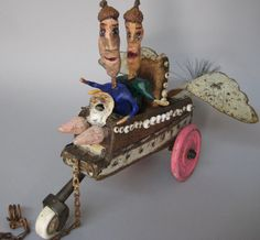 The Flying Boobette Sisters,  Linda Lou Horrn, 2012   Found objects and clay sculpture