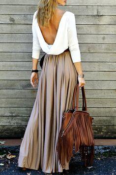 $20.99 Alluring Long Sleeve Maxi Draped Open Back Dress