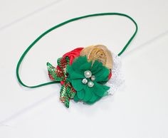 Ho Ho Ho  - Christmas holiday headband in red, green and gold with plenty of sparkle and glitz  (RTS) by SoTweetDesigns on Etsy