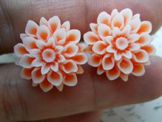 plugs and gauges flower   Flower Plugs-Orange Mums-Pick Your Own Size Up To A 1/2g (12mm)