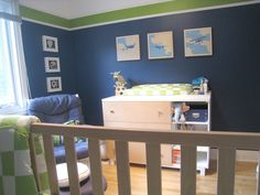 baby boy nursery @Emilie Claeys Claeys Claeys Elizabeth Ossa. I love the walls.... not sure about the airplanes... but you could maybe find alligators or something. :)