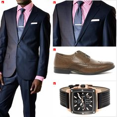 A – Fitted Navy Blue Hugo Boss http://on.fb.me/1dAVIUW Suit, Dark Pink Gingham Shirt, Blue Micro Dot Necktie available at the Hugo Boss outlet, ground floor in Limegrove Lifestyle Centre building No. 35 or call +1 (246) 622-3333  B,C – Get the details; Tie Bars, Pocket Squares and Tan Derby Brogue Shoes; email us info@wardrobetvshow.com for exclusive providers  D – Bulova Marine Star Chronograph (98B103), contact Colombian Emeralds (Barbados) http://on.fb.me/1dkiobI for availability