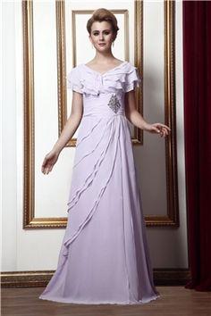 Short Sleeves Elegant & Luxurious A-line Zipper-up Floor-Length Natural V-Neck Chiffon Dress