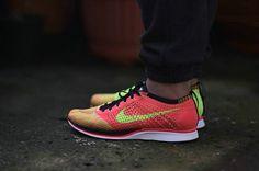 a1dab6e18939 Size Euro 42.5 Nike Flyknit Racer Hyper Punch Laser Orange Black Noir Electric  Green On Feet