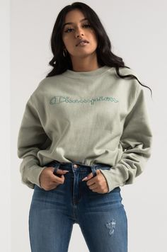 9e74a7b98ddf Champion Long Sleeve Crew Neck Script Logo Pullover Sweatshirt in Grey