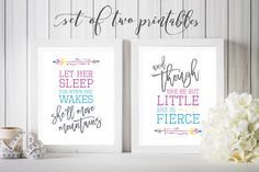 Nursery Decor, Let her Sleep, She'll move Mountains, Though She be but Little, She is Fierce, Girls Room, 8x10, PRINTABLE, Digital Download by off2market on Etsy