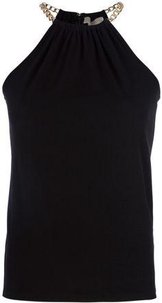 Michael By Michael Kors Sleeveless Vest Top in Black