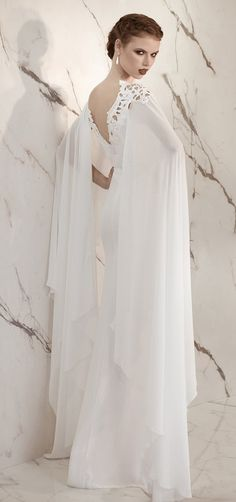 Vintage Watteau Style Chiffon Wedding Dress :: Autumn Collection