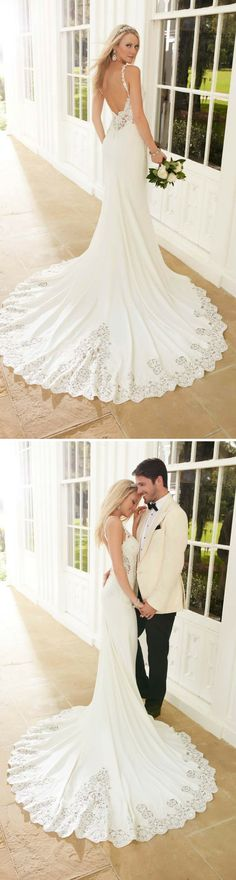 The perfect style for a statement-making bride, a sexy backless wedding dress should be your go-to style on your wedding day. For these looks, it's all about the details. Intricately-detailed lace backs, beautiful hand beading, and sweet buttons over an illusion back make for an unforgettable gown.