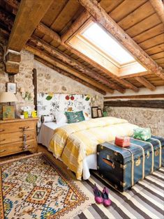 Attic Bedroom ~ Another fun use of color and pattern softens, yet compliments the texture of the stone walls. Lots going on but in a delightful way