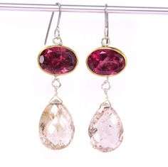 Rubelite - Pink Tourmaline - & Morganite Goddess Earrings