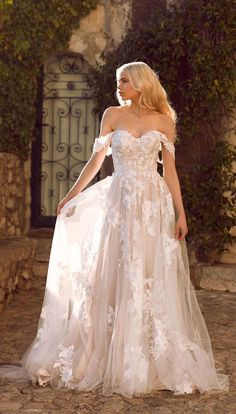 Amazing Wedding Dresses For Ultimate Garden Wedding &; Off the shoulder floral applique wedding go&; Amazing Wedding Dresses For Ultimate Garden Wedding &; Off the shoulder floral applique wedding go&; Fairy Wedding Dress, Garden Wedding Dresses, Wedding Dresses With Straps, Amazing Wedding Dress, Dream Wedding Dresses, Designer Wedding Dresses, Bridal Dresses, Wedding Gowns, Bridesmaid Dresses