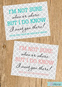 Will You Be My Bridesmaid Card, Mod  Bridesmaid Card, Maid of Honor, Flower Girl. $1.75, via Etsy.