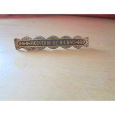 "New Listing Started silvertone bar pin badge recuardo of bilbao in goldtone/black 1.5""across £1.25"