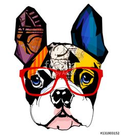 Vector: Portrait of French Bulldog wearing Red Hipster Glasses.