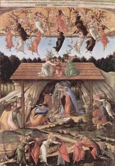 31. Sandro_Botticelli_la Natividad Mística . Después de haber caído en desgracia Savonarola, Botticelli, influenciado por el, pinta esta obra manteniendo el tono religioso del predicador. Se supedita en esta obra la proporción natural de las figuras ofrecida por la perspectiva, para aumentar el tamaño de la virgen según una escala simbólica jerárquica de connotaciones medievales. Al mismo tiempo se ofrecía una lectura apocalíptica de la Natividad en conexión con los textos que acompañaban la representación.