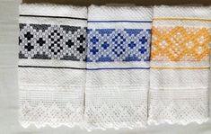 Conjunto de 7 panos de prato / copa Tucano no Elo7   Bêa Criações (9FE476) Chicken Scratch, Hand Stitching, Towel, Embroidery, Kitchen Products, Dish Towels, Dishes, Toco Toucan, Needlepoint