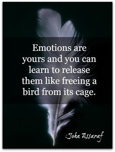 Emotions are yours and you can learn to release them like freeing a bird from its cage. John Assaraf, Live In The Now, Emotional Intelligence, Life Quotes, Qoutes, Relationship Tips, Helping People, Wise Words, Positive Quotes