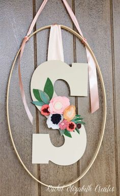 Lovely letter on the door at a baby shower party! See more party planning ideas at CatchMyParty.com!