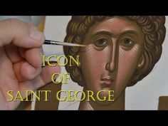 I am painting the holy face of Saint George of Kappadokia. Byzantine Iconography is very relaxing and meditative. Paint Icon, 6th Grade Art, Byzantine Art, Saint George, Painting Videos, Meditation, Relax, Detail, Film